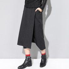 Black Vintage Baggy Pants Women Autumn Winter England Style Pockets Plus Size Harem Pants Elastic High Waist Woolen Skirt Pants plus size women plaid pants 2019 spring new streetwear style drawstring waist harem pants lining mesh pockets design capri pants
