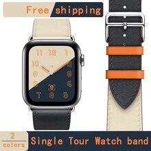[Новая акция магазина] кожаный ремешок herm с петлей для apple watch series 4 1 2 3 iwatch 40 мм 44 мм для мужчин и женщин