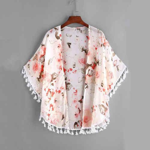 2018 חדש קיץ 2-6Y ילדי בנות פרחוני ציצית קימונו קרדיגן מעיל Boho חולצה חולצה ילדי בנות חוף כיסוי למעלה חולצות