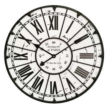 1 Pc Wall Clock European Silent Roman Numeral Metal Decorative Hollowed-out Vintage Clock for Office Home