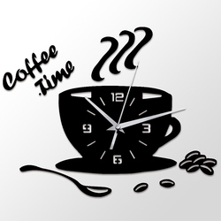 Wall clock 3D Coffee Time Clock Acrylic Wall Clock Modern for Kitchen Home Decor Cup Shape Wall Sticker Hollow Numeral Clock @