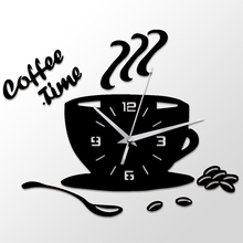 Wall clock 3D Coffee Times Clock Acrylic Modern for Kitchen Home Decor Cup Shape Sticker Hollow Numeral Clock!