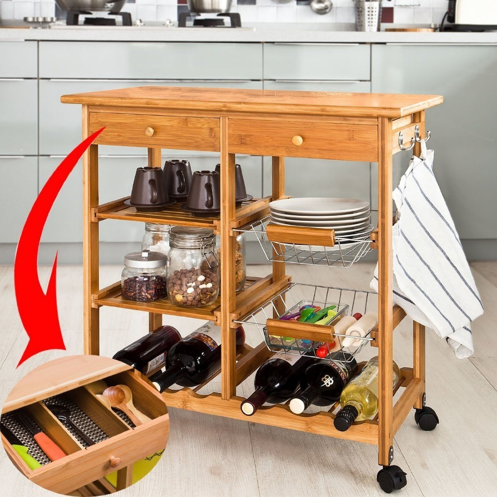 SoBuy  FKW06-N, Bamboo Kitchen Storage Trolley Serving Trolley Kitchen Shelf