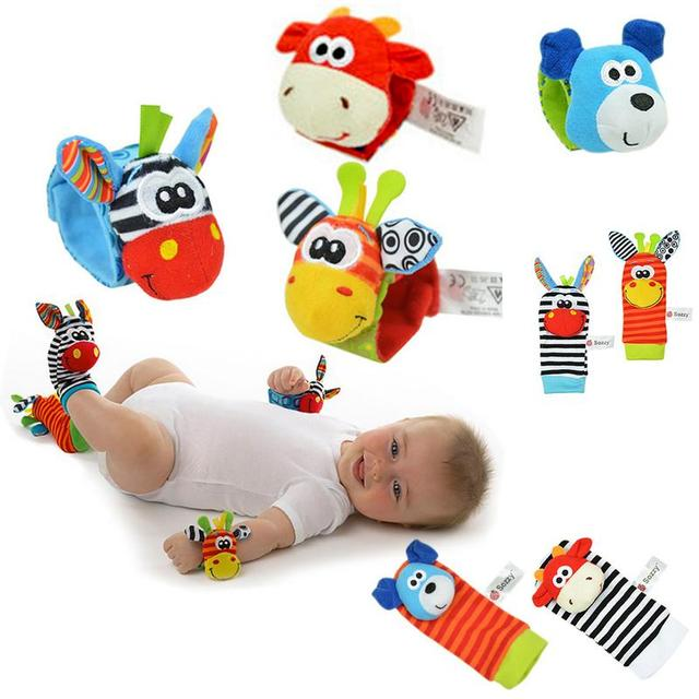 1pcs Baby Hand Strap Wrist Bell Foot Sock Rattles Animal Rattles Soft Toy Built-in Rattle Intellectual Development Accessories