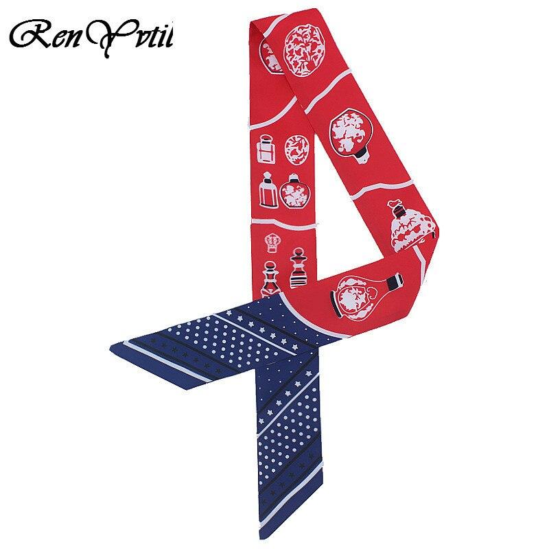 Luxus Marke Twill Seide Kleine Frauen Mode Kopf Schal Blume Drucken Haar Taschen Griff Krawatte Multifunktions Hand Band Schal PüNktliches Timing