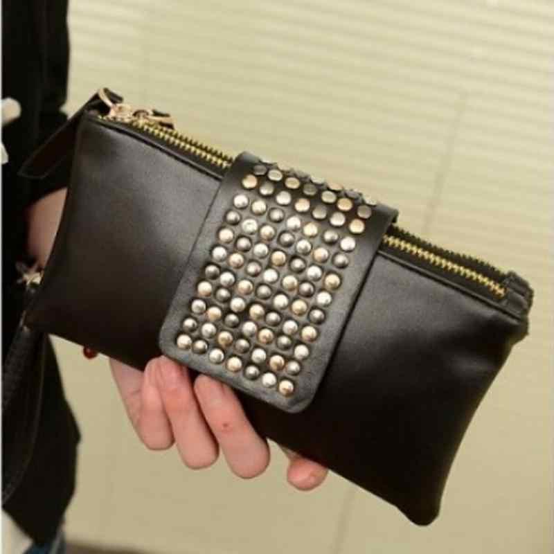 Bolsa feminina de couro da forma do parafuso prisioneiro do rebite longo dia saco de embreagem para a senhora preto festa à noite bolsa bolsa bolsa bolso mujer