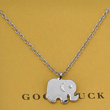 Cute Simple Elephant Stainless Steel Animal Pendant Necklace For Women Bijoux Jewelry Gift A82 stunning rhinestoned elephant pendant necklace for women