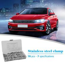 70Pcs 7 Sizes Stainless Steel Car Air Pipe O Clips Accessories Fuel Pipe Clips Auto Car Repair Tool Kit Single Ear Hose Clamps