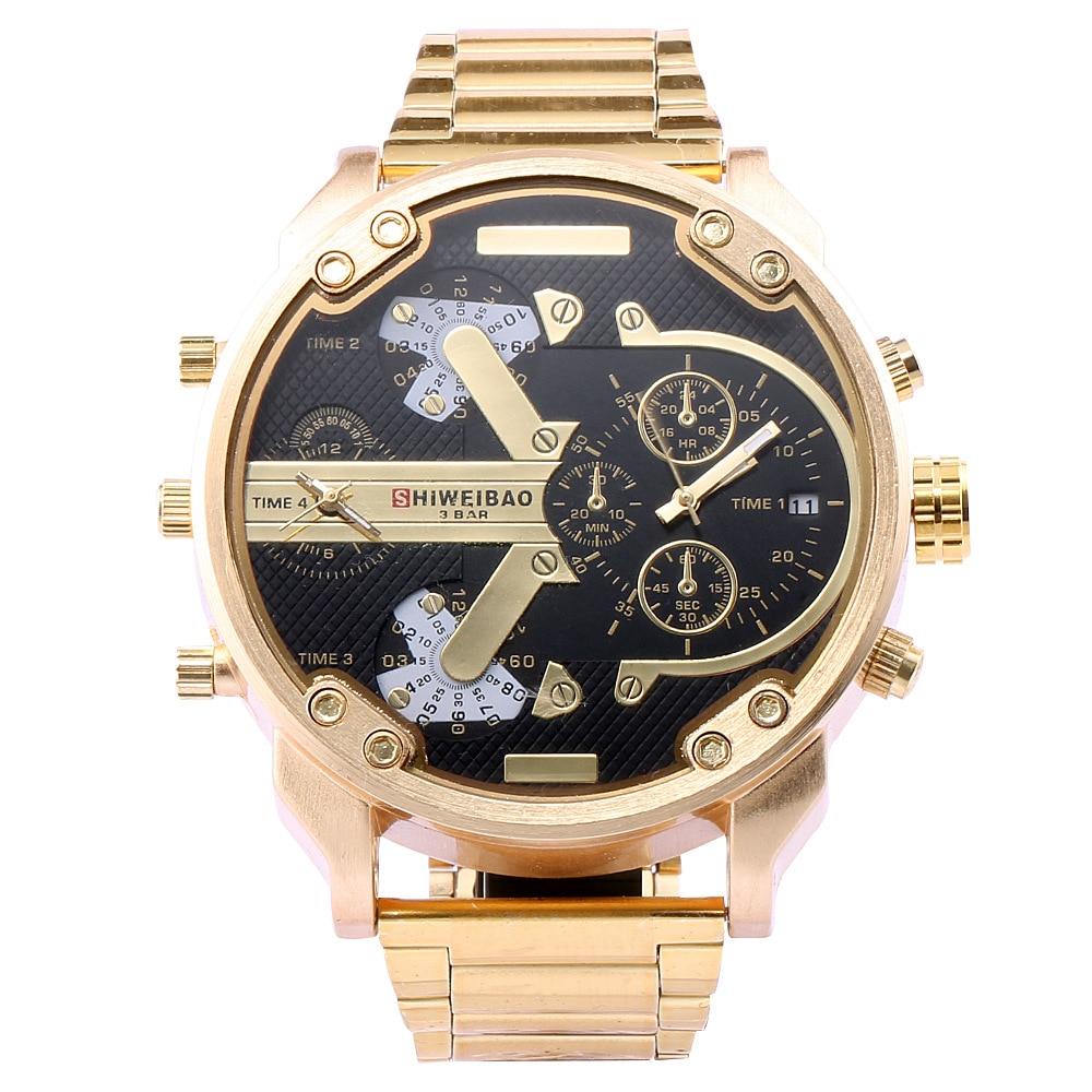 shiweibao brand mens Large dial watches quartz stainless steel man wristwatches DZ style man watch luxury gold black