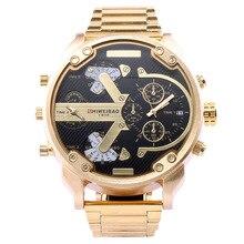 Shiweibao Брендовые мужские часы с большим циферблатом кварцевые часы из нержавеющей стали мужские наручные часы DZ стиль Мужские часы роскошные золотые черные