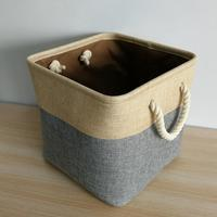 One Set Three 33CM Square Cotton Linen Storage Basket Cotton Rope Toys Storage Box Foldable Design Multi function Basket Fashion