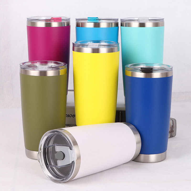 US Thermos Coffee 600ML Solid Travel Mug Tea Stainless Steel Vacuum Flask Water Bottle Cups 8Color