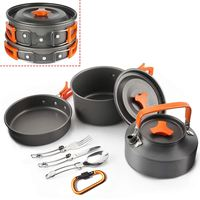 2 3 People 10Pcs Outdoor Pots Pans Camping Cooking Cookware Set Kit Non stick Tableware With Foldable Spoon Fork Knife Kettle