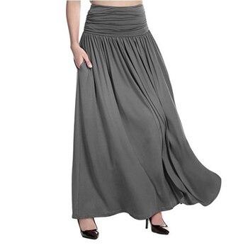 943e4a136067 Летняя женская мода сплошной цвет Высокая талия юбка плиссированная Ретро  ...