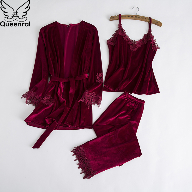 Queenral 3PCS Flannel Velvet Warm Winter Pajamas Sets For Women Sexy Lace Robe Pajamas Sleepwear Long Sleeve Nightwear Female