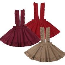 От 2 до 6 лет для маленьких принцесс; Однотонная юбка на подтяжках с оборками для маленьких девочек; комбинезон; цельнокроеный сарафан; летняя одежда