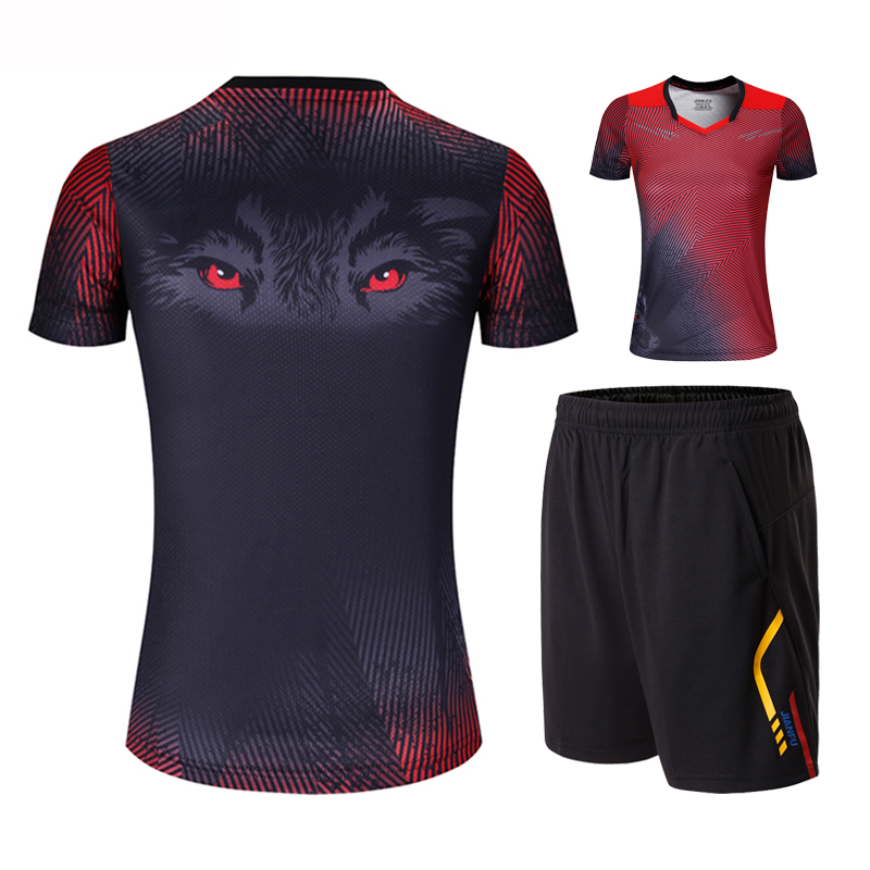 New Running Sports Quick drying Breathable Badminton Shirt + Shorts Wolf Pattern in Tennis T shirt of Women's Table Tennis Set