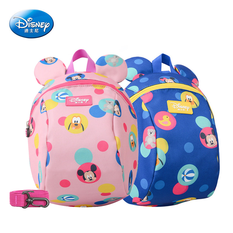 Disney Baby Backpack Toddler Anti Lost Backpack Mickey Minnie Cartoon Wrist  Link Children Schoolbag Walking Leashes Bag
