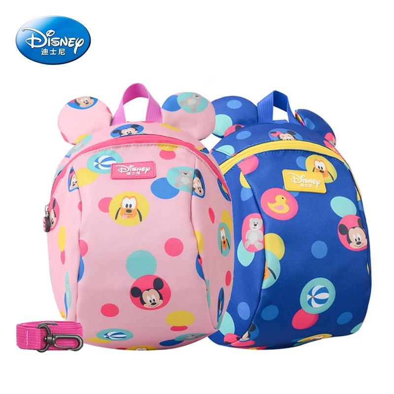 Disney Baby Backpack Toddler Anti Lost Backpack Mickey Minnie Cartoon Wrist Link Children Schoolbag Walking Leashes Bag