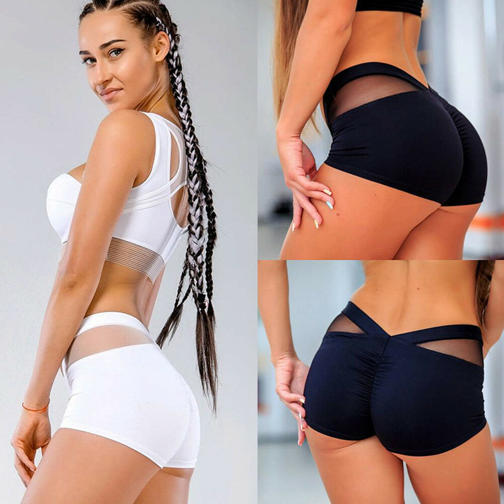 Mesh Shorts Push-Up Waistband Elastic Skinny Sexy Sport Breathable Women Gym Butt Quick-Dry