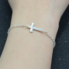 CUTEECO Fashion Simple Women Bracelet Jesus Christian Mens Horizontal Sideways Cross Charm Bracelets Silver Plated Keepsake Girl