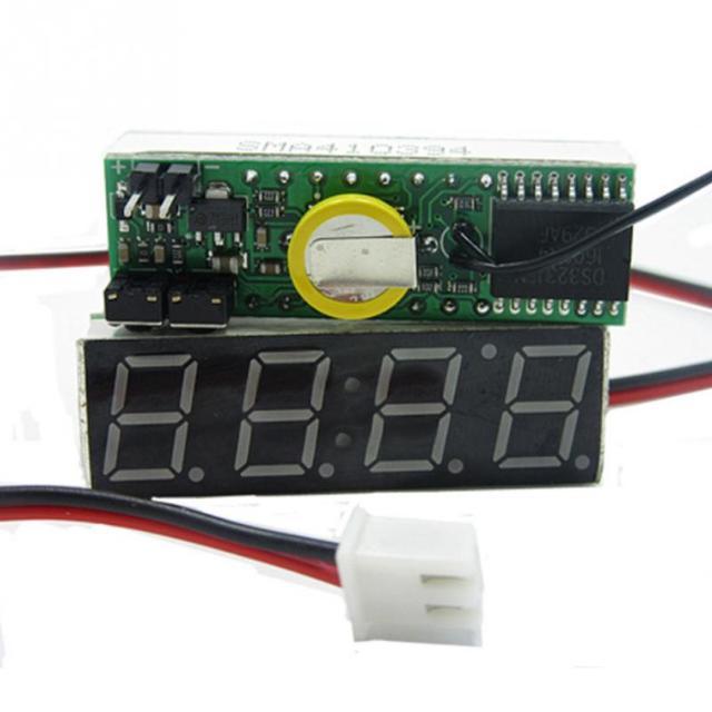 3 em 1 Car Veículos Digital Tubo LEVOU Voltímetro Termômetro Tempo Automóvel Relógios de Mesa Mostrador do Relógio Eletrônico