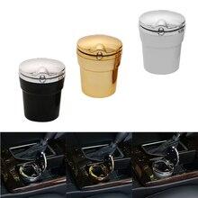 Cup-Holder-Storage Car-Ashtray Blue-Light Cigarette-Smoke Ash-Cylinder LED with Lids