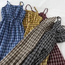 цена на 2019 Spring Summer Women Plaid Dress Plaid Long Sleeveless Dress Vestidos De Algodon Verano Vestitino Estivo