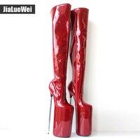 Женские ботинки обувь ручной работы пикантные сапоги до бедра из лакированной кожи на очень высоком каблуке 30 см и платформе 20 см, на металл