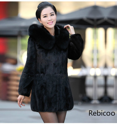 2019  Women Winter Hooded Fake Fur Coats Plus Size 3XL 4XL Vintage Artificial Black Faux Fox Fur Coat With Hood Big Size