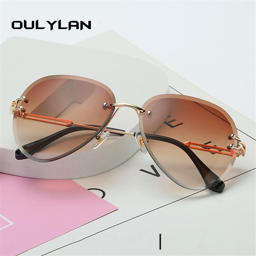 Oulylan Rimless Sunglasses Women Brand Designer Sun Glasses Gradient Shades Cutting Lens Ladies Frameless Metal Eyeglasses UV400 5