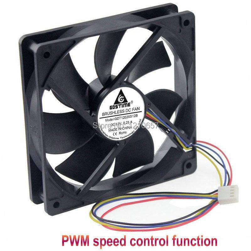 1 pièces Gdstime hydraulique 120mm x 25mm 12cm PWM FG coque d'ordinateur ventilateur de refroidissement 4 broches refroidisseur