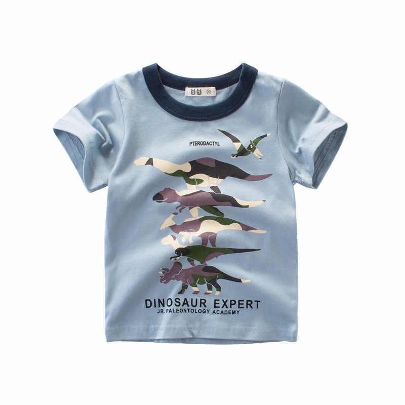 Принт с животными футболка для мальчиков хлопок мультфильм одежда с динозаврами детская футболка для маленьких девочек Детская Костюмы комплекты для девочек