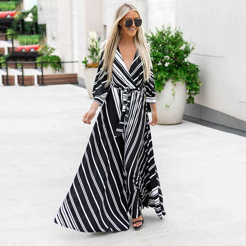 4fd3b2ecb87 Women Maxi Dresses Fall Casual Boho Loose Stripe Belt Female Fashion Travel  Beach Holiday Party Print