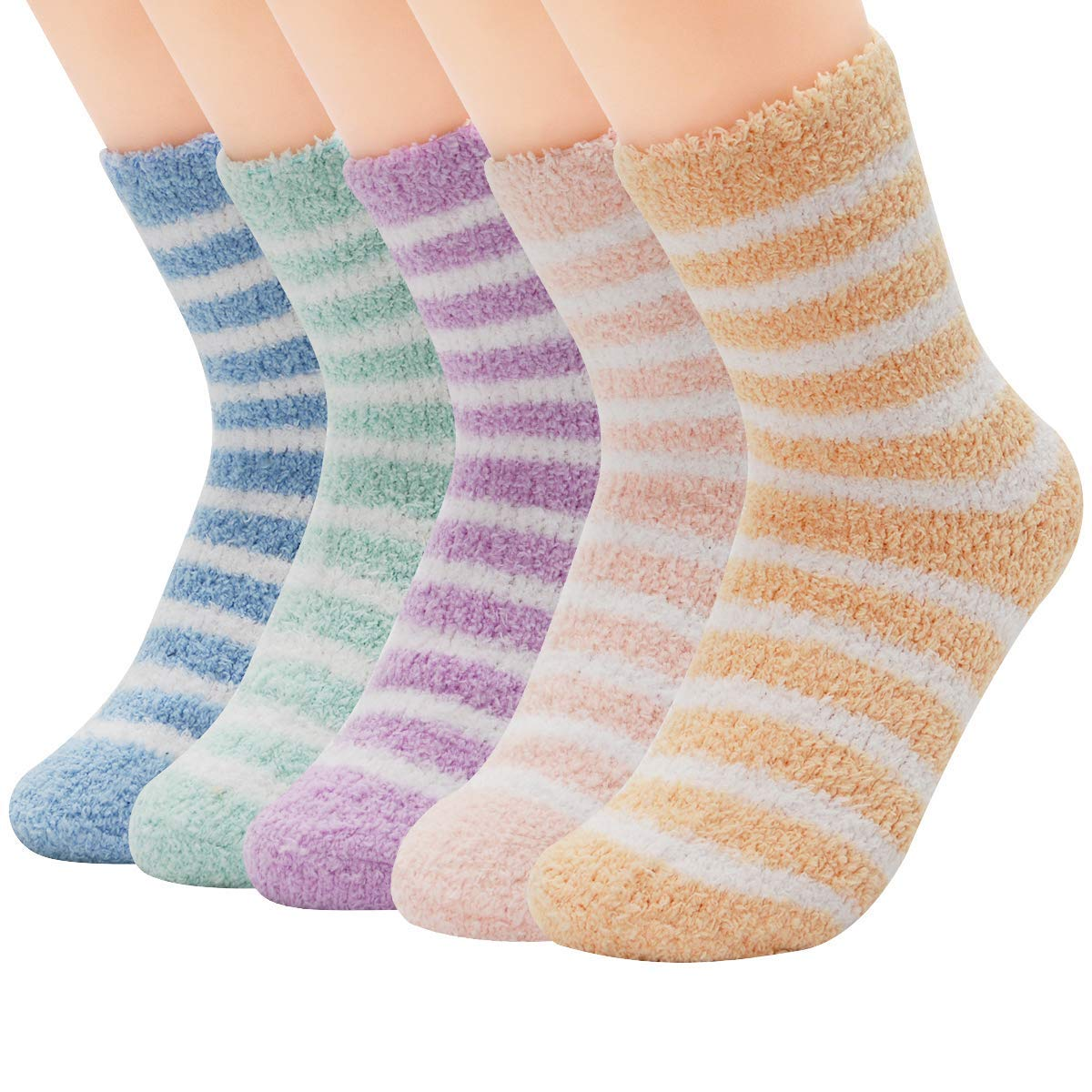 Mulheres quentes super macio pelúcia chinelo meias de inverno fofo tripulação meias casa casual dormir fuzzy cozy sock, 5 pares colorido tira