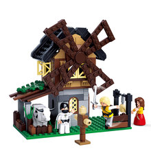 Medieval castelo cidade série moinho de vento artes marciais campo fazenda vaca alfaiate espantalho tijolos conjunto blocos de construção brinquedos para crianças