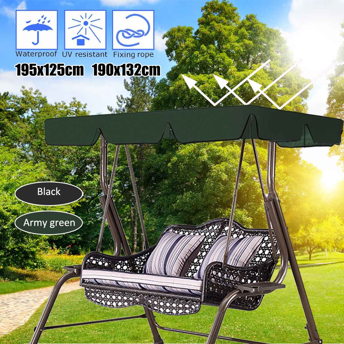 2 3 Seats Waterproof Swing Chair Top Cover Outdoor Canopy Replacement Garden Courtyard