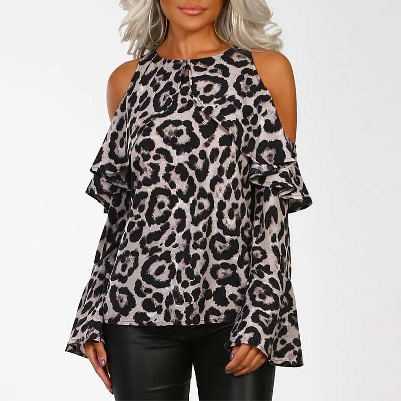 Women Sexy Off Shoulder Blouses Shirts 2018 Spring Autumn Bohemian Ladies Flare Sleeve Leopard Printed Casual Loose Blusas Tops