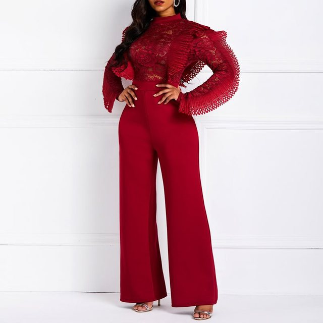 Clocolor Women Jumpsuits Long Sleeve Sexy See Through Red Slim High Waist Hollow Lace Ruffle Female Fashion Elegant Party Romper