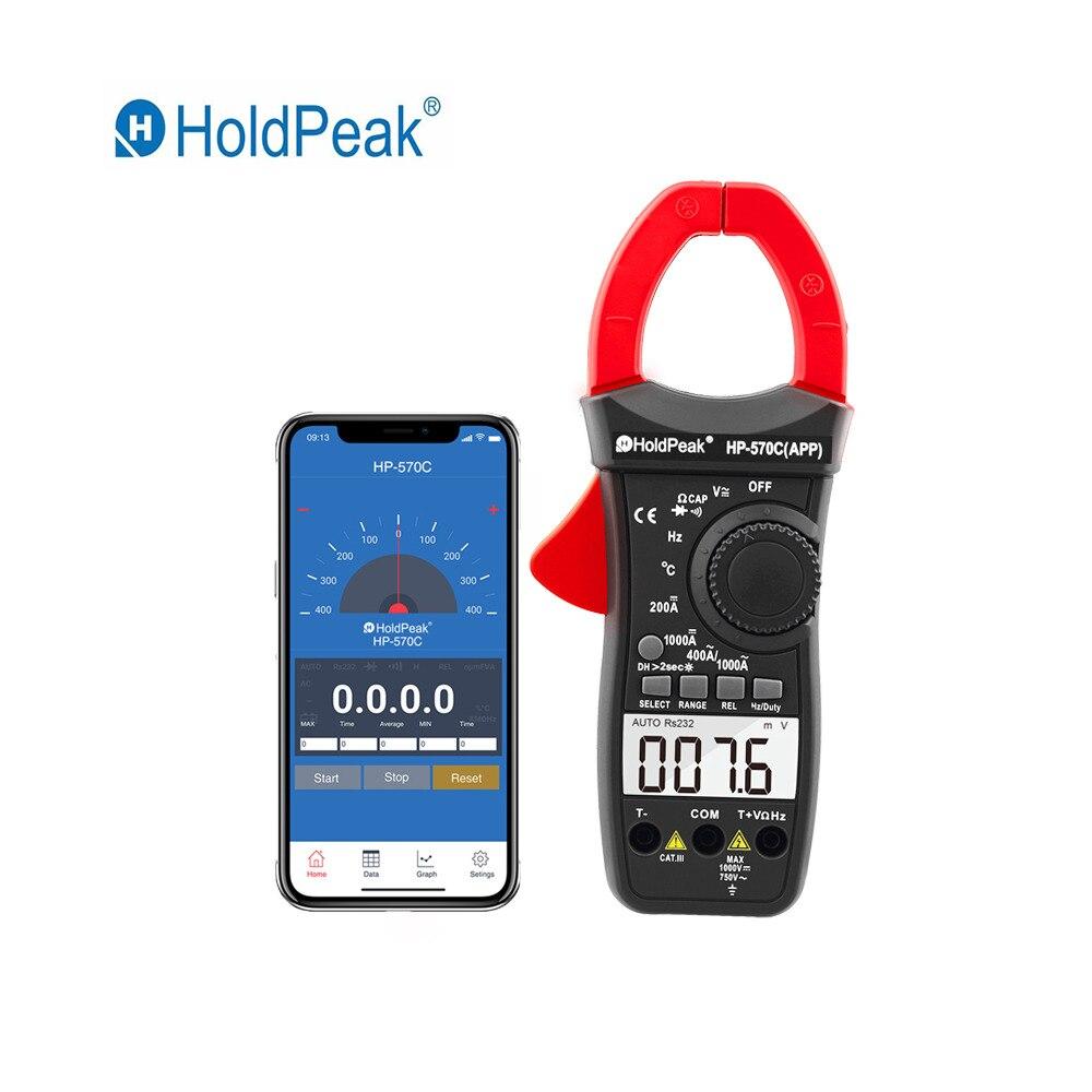 HoldPeak Numérique Pince Multimètre HP-570C-APP 1000A AC/DC Tension Courant Capacité compteur de température Se Connecter à Téléphone Testeur