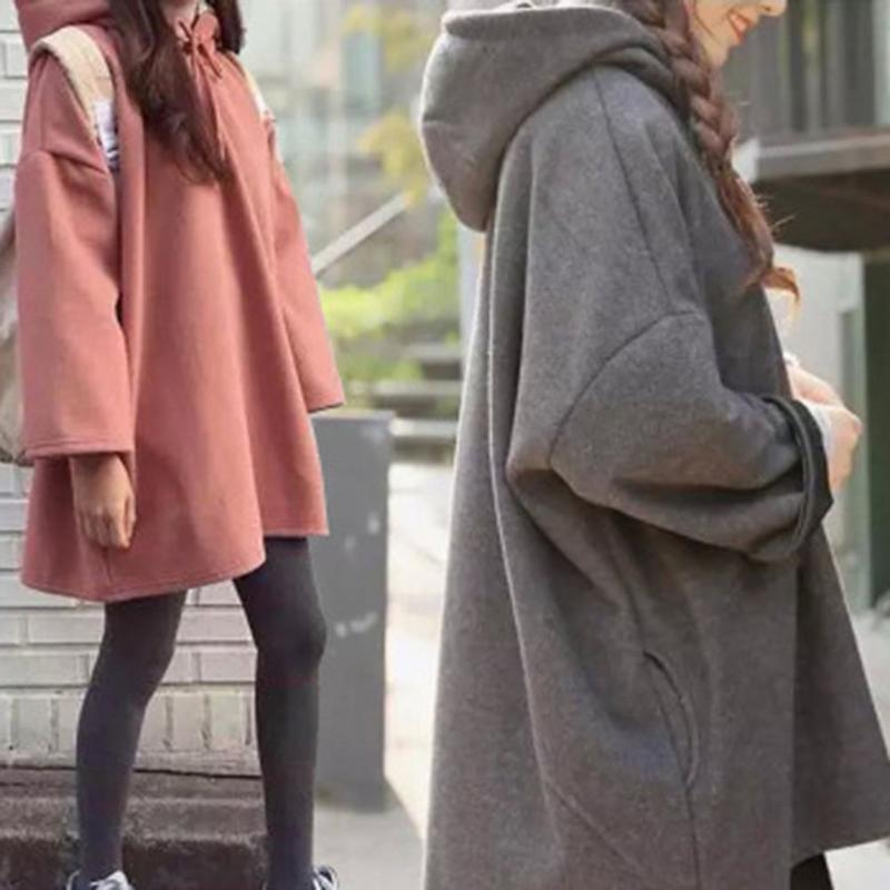 Women's Casual Autumn And Winter Korean Version Large Size All-Matched Fleece Lined Loose Long-Sleeved Hooded Cloak-Style