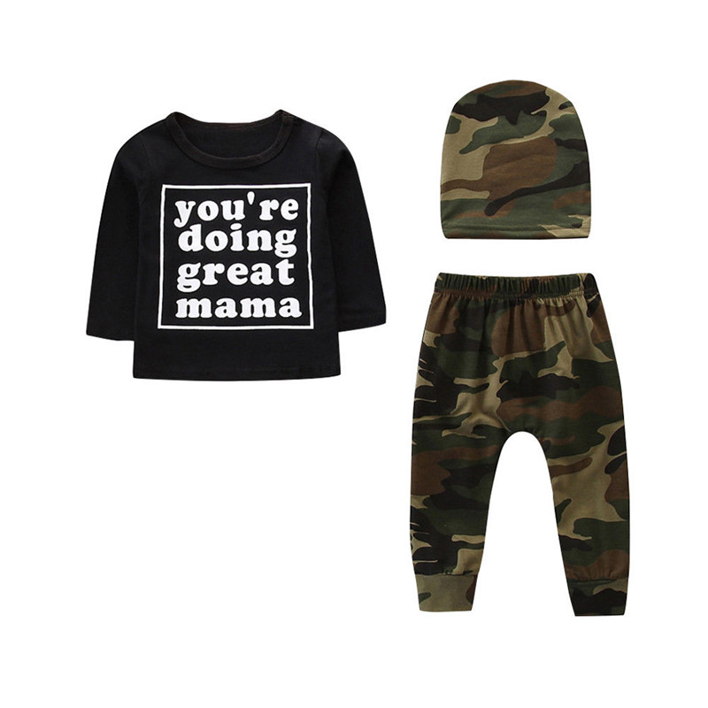 0-3T Newborn Kids Baby Boys Camo Clothes set Long Sleeve T shirt Top camouflage pants Fashion Cute Child cotton Outfits set