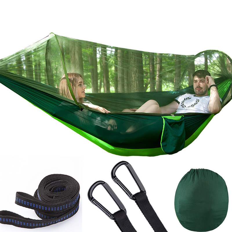 New Quick Opening Mosquito Net Camping Hammock With Tree Rope Outdoor Furniture Hanging Chair Dropshipping Swings Hamock
