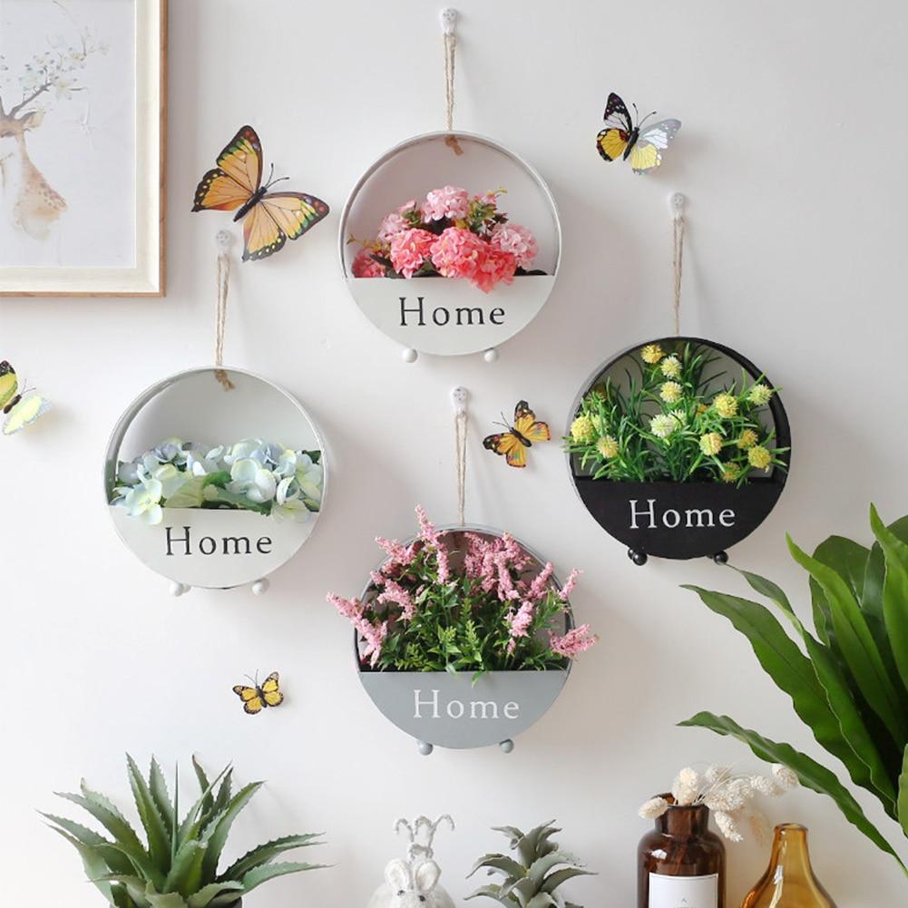 modern simple wall hanging flower pot wrought iron hanging