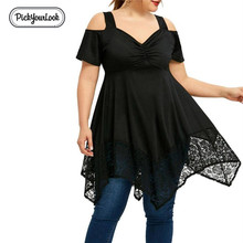 PickyourLook Womens Plus Size Off Shoulder Lace Tee Shirt Ladies Irregular Hem Summer Party Tops Long T-shirts Black SexyTees