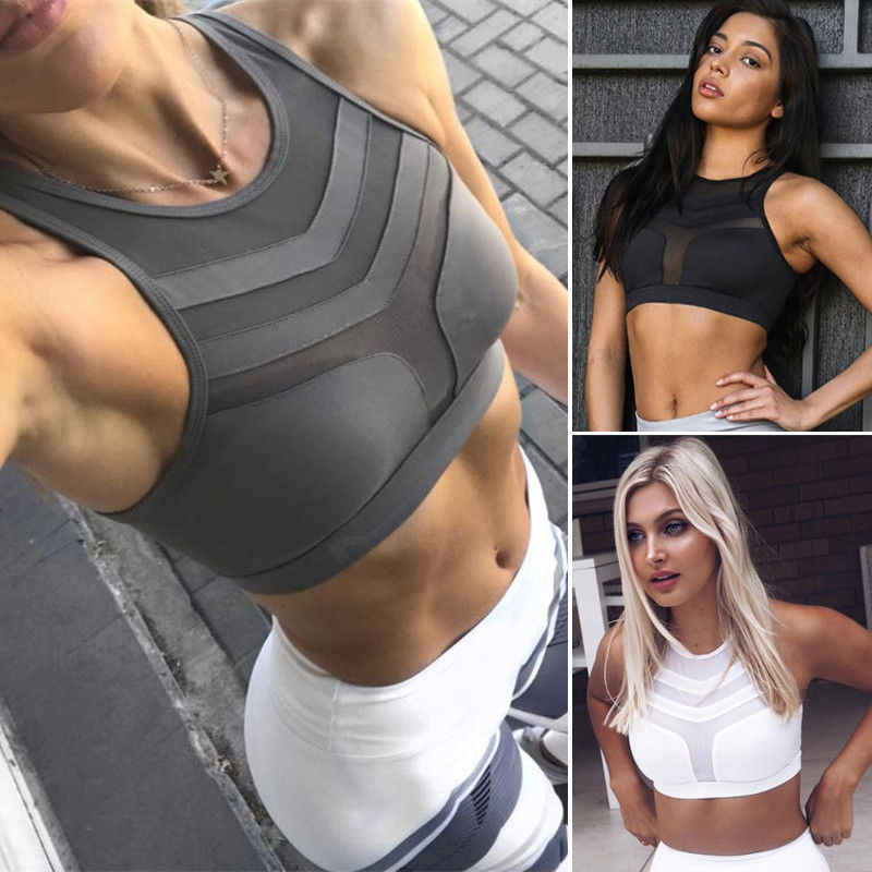 Fashion Women Sports Bras Yoga Fitness Stretch Workout Tank Top Female Girls Seamless Padded Racerback Sports Bra