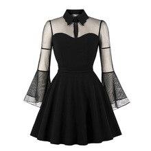 Birthday Dress Women Elegant Black Mesh Patchwork Flare Sleeve Vintage 1920s Cocktail Party Plus Size Pleated Skater Dress plus embroidered mesh insert pleated sleeve bardot dress