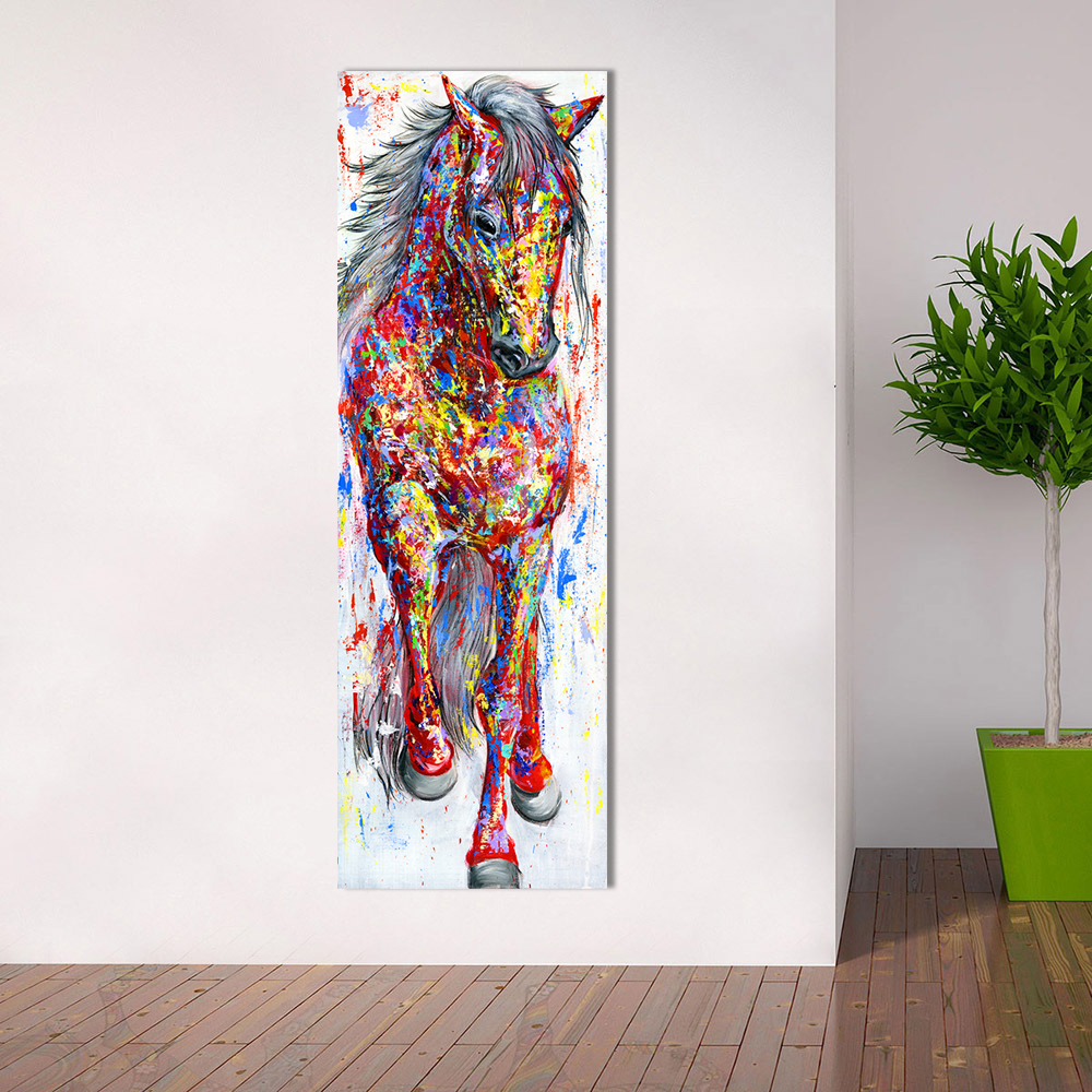 QKART Wall Art Painting Canvas Print Animal Picture Animal Prints Poster The Standing Horse For Living Room Home Decor No Frame title=