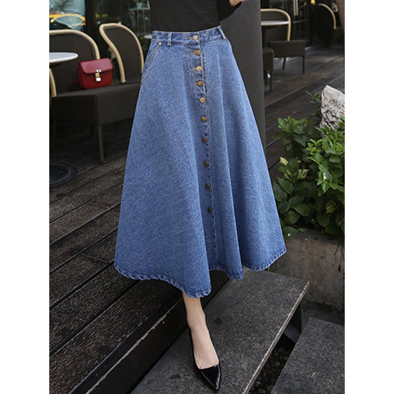 Denim Skirt High Waist Vintage Summer 2019 School Casual Korean Fashion Button Street Blue Elegant A Line Chic Maxi Skirts Girl