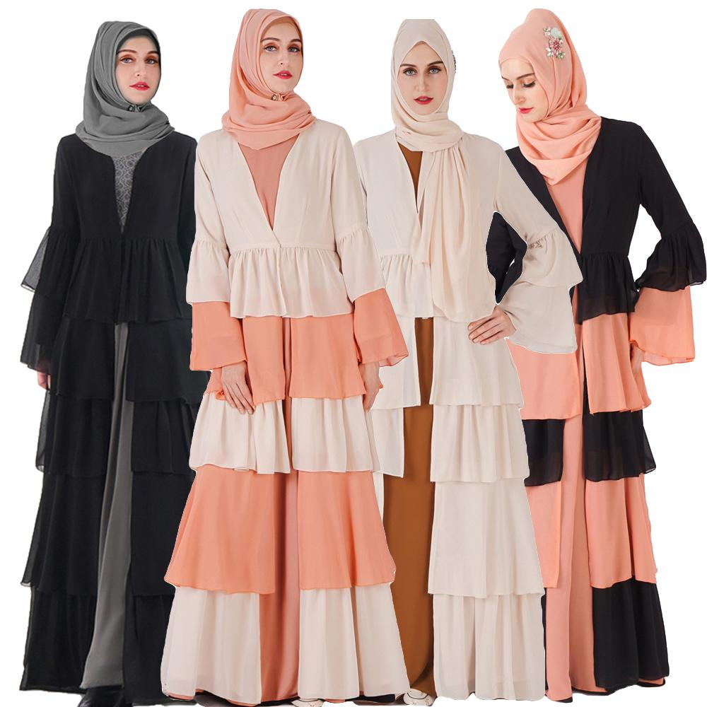 Muslim Women Abaya Maxi Dress Open Front Cardigan Ruffle Patchwork Robe Jilbab Kaftan Kimono Ramadan Bell